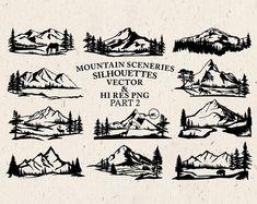 Hand Drawn Mountain Scenery Clipart Mountain Scenery   Etsy