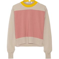 Jil Sander Color-block cashmere sweater ($330) found on Polyvore featuring women's fashion, tops, sweaters, jumpers, shirts, pastel color block shirt, cashmere sweater, collared shirt, cashmere jumpers and rose sweater