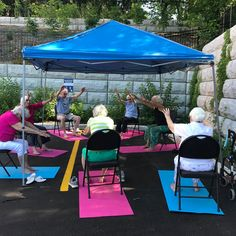 """Yoga is not about touching your toes, it is what you learn on the way down"" - Residents at Carp Commons Retirement Village are enjoying yoga in the yard. Namaste 😊🙏 #vervecares #community #yoga #goodtimes #stayactive Way Down, Senior Living, Carp, Ottawa, Namaste, Ontario, Good Times, Retirement, Community"