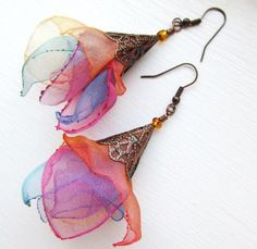 Items similar to off SALE! organza one of a kind artisan fiber art earrings . Dancing in the air - designed handmade by MGMart o Fabric Earrings, Fabric Beads, Beaded Earrings, Earrings Handmade, Beaded Jewelry, Handmade Jewelry, Jewelry Crafts, Jewelry Art, Jewelry Design