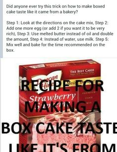 Making a cake mix taste like its from a bakery