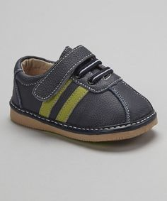 Take a look at this Navy & Green Stripe Leather Shoe by Modit on #zulily today!