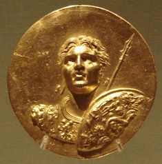 Roman gold medallion of Abukir, depicting the likeness of Alexander the Great. The Roman medallions of Abukir are all on the theme of Alexander the Great, and one bears an inscription relating it to the Olympic Games. Celtic, Coin Art, Gold Medallion, Alexander The Great, World Coins, Ancient Jewelry, Rare Coins, Ancient Artifacts, Ancient Romans