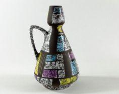 Bay vase designed by Bodo Mans, purple, yellwo, blue, West German Pottery, 70s - vintage retro