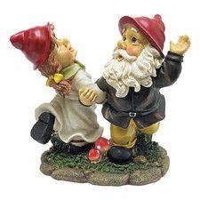 Statue de jardin duo de gnomes dansant