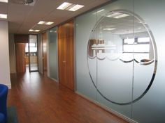 Branded frosted window film on glass partitioning Frosted Window Film, Floor Graphics, Office Furniture Design, Glass Partition, Shattered Glass, Window Decals, Office Interiors, Glass Door, Windows