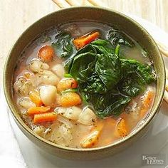 For a hearty Italian-seasoned bean soup ready in under 30 minutes, use packaged vegetables and canned beans and broth. /