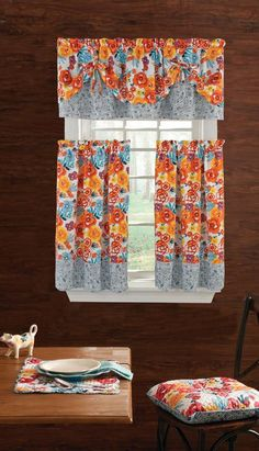 The pioneer woman flea market kitchen curtain tier and
