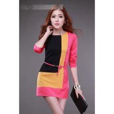 Beautiful Color Block with Belt Half Sleeves Women Dress