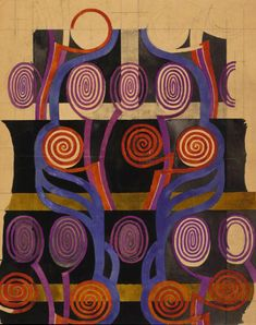 Textile design of orange and purple spirals by Charles Rennie Mackintosh, 1915-23 | Hunterian Art Gallery Mackintosh collection, GLAHA 41137