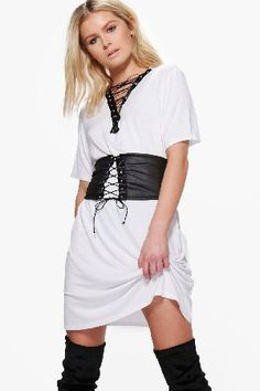 #boohoo Lace Up Corset Belt 2 in 1 T-Shirt Dress - white #Mya Lace Up Corset Belt 2 in 1 T-Shirt Dress - white