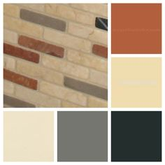 orange brown and grey backsplash tile | backsplash tile paint colour collage with rust, black, gray and cream