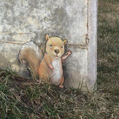 """#streetart #squirrel #hello""   David Zinn, artist"