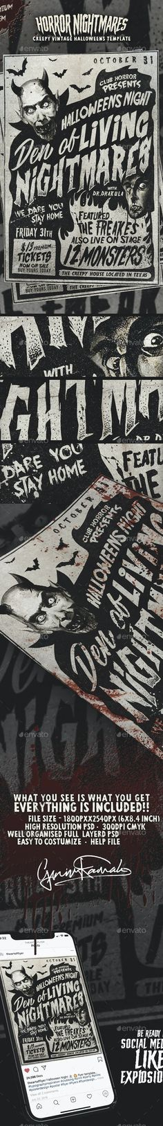 Horror Nightmares - Vintage Halloween Poster by yaniv-k | GraphicRiver