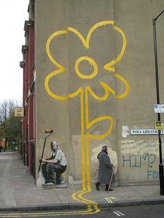 bansky Urban Street Art, Urban Art, Banksy, Reverse Graffiti, Happy Art, London Street, Visionary Art, Weird Art, Street Signs