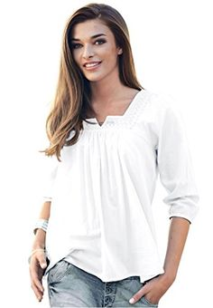 7d45c96bbe4 Ellos Womens Plus Size Macrame Trim Blouse White3X   Click on the image for  additional details