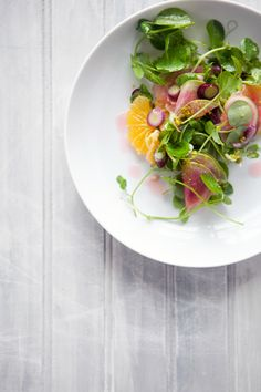 Pea Shoot, Orange, Watermelon & Bonito Salad via Cannelle et Vanille  #salad #recipe