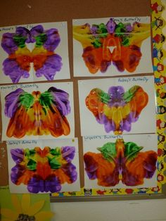"""pressed butterfly art along with """"the very hungry caterpillar"""" book"""