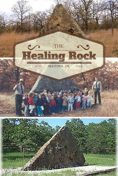 Also known as Teepee Rock, the Healing Rock of Skiatook, Oklahoma, is a natural formation was once rumored to have healing powers by the local Osage and Quapaw Indians during the late 19th century. According to legend, anyone who felt unwell could lean against the rock to receive its healing powers. Today, a nature trail leads to Healing Rock from the Corps of Engineers project office on Skiatook Lake.