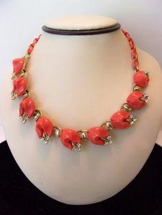 LISNER Necklace Vintage Orange Lucite Flower Glass Rhinestone Gold Plate Collar  #Lisner #Collar