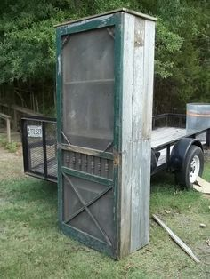 Cabinet made out of an old screen door