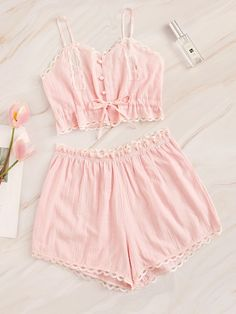 To find out about the Lace Trim Button Front Cami Pajama Set at SHEIN, part of our latest Pajama Sets ready to shop online today! Lingerie Fine, Jolie Lingerie, Women Lingerie, Purple Lingerie, Cute Pajama Sets, Cute Pajamas, Pyjama Sets, Silk Pajamas, Pj Sets
