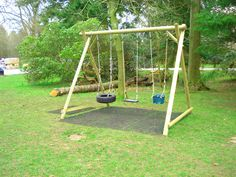 kids swing set out of landscape timbers | Swing