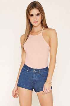 Square-Neck Ribbed Knit Cami #thelatest