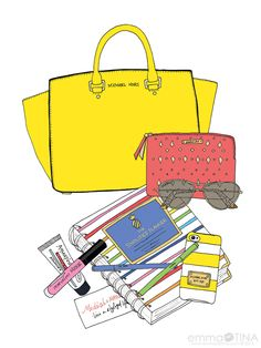EmmaKisstina Illustrations by Kristina Hultkrantz www.emmakisstina.com : Blogger What's in My Bag: Kristin of www.modishandmain.com