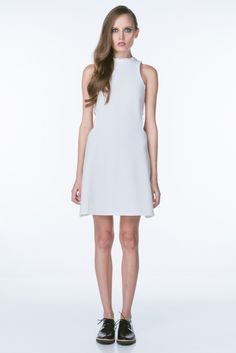 White Mock Neck Structured Dress with Side Cutouts