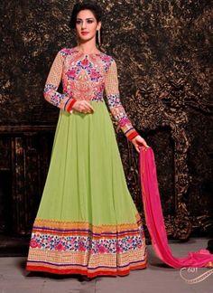 Lemon Green And Pink Georgette Embroidery Work  Anarkali Suit http://www.angelnx.com/Salwar-Kameez/Anarkali-Suits