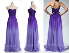 A-line Strapless Ombre Purple Chiffon Floor-length Prom Dresses,Strapless Long Bridesmaid Dress,Ombre Prom Party Dress