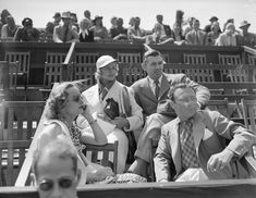 Alice Marble, Clark Gable, Carole Lombard, and Felix Young watch the Beverly Hills Tennis Tournament, 1938