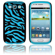 Stylish Zebra Cutting Soft Rubber & Hard Body Case Change your Galaxy S3 Entire Look...  MagicMobile For Samsung Galaxy S3 Hybrid Zebra Silicone Case And Hard Plastic Armor - Black Blue Phone Cover (At&T, T-Mobile, Sprint, Verizon, US Cellular) with Scree
