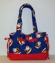 Santa Claus Novelty Fabric  Purse Handbag, Christmas Themed Pocketbook, Blue