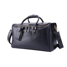 a1593a9a719 BAIGIO Men s Leather Duffle Luggage Travel Bag Weekend Overnight Gym Tote  Vintage Retro (Black)  Amazon.co.uk  Luggage