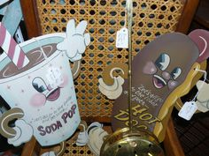 Let's All Go to the Lobby and get some Soda Pop and Hot Dogs! Kitschy Smiling Cup and Weiner Signs at Scranberry Coop, Andover NJ. Retro
