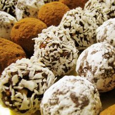 "No-Bake Booze Balls Recipe - Booze Balls"" were traditional holiday treats in my family, and I love them (we'd make ""No-Booze Balls"" with orange juice for the kids). Holiday Baking, Christmas Baking, Christmas Treats, Holiday Treats, Holiday Recipes, Vegan Christmas, Holiday Foods, Candy Recipes, Cookie Recipes"