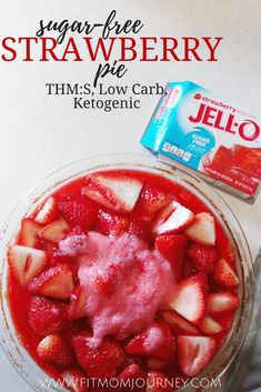 Enjoy this Sugar Free Strawberry Pie anytime you're craving a sweet and fruity taste of summer! My Sugar Free Strawberry Pie is a THM:S fuel, Ketogenic, Low Carb, and Grain free. Sugar Free Jello, Sugar Free Desserts, Sugar Free Recipes, Low Carb Desserts, Low Carb Recipes, Dessert Recipes, Sweet Desserts, Diabetic Recipes, Dessert Ideas