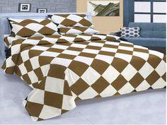 16'' 6 Pc Egyp.Cotton Dark Gold & White Diamond Style Duvet Cover Set Olyqueen.