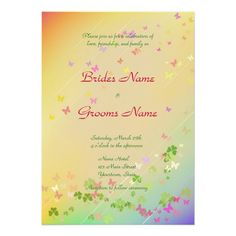 Spring Wedding Invitation in lovely pastel colors and perfect for a rainbow theme especially. #Weddings #WeddingInvitations