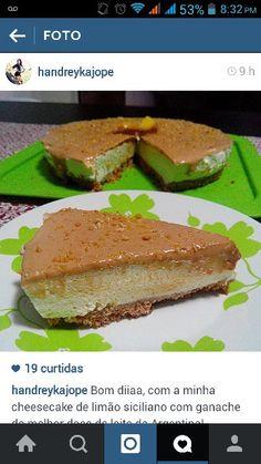 Cheesecake de limão siciliano com ganache de doce de leite!