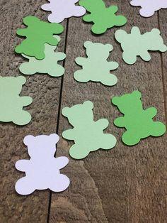 Green Teddy Bear Table Confetti / Baby Shower Party / Birth