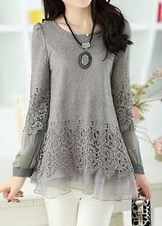 Layered Long Sleeve Lace Panel Grey Blouse at Rosewe.com, free shipping worldwide, check it out.