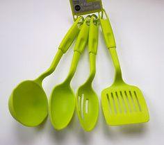 LIME GREEN 4 PIECE KITCHEN COOKING TOOLS UTENSIL SET SPOONS SPATULA LADLE NEW   eBay