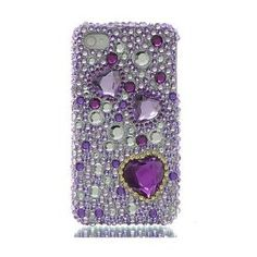 Premium Bling Luxurious Design Diamond Crystal Snap-on Case for Apple iPhone 4S, iPhone4, Large Purple Hearts $2.00