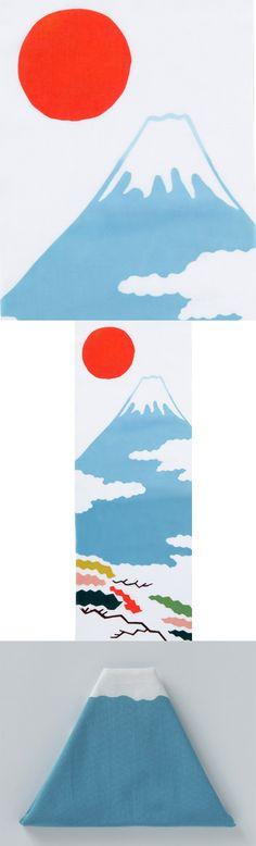 【注染手拭い 富士山(中川政七商店)】/富士山と日の丸、松を描いた縁起の良い注染手拭いです。手拭いは、折り畳むと富士山の形になります。注染とは糊で染め分けをした生地を重ね、その上から染料を注ぎ込む日本独自の染め方です。注染で染めた布は染料が布の繊維に染み込んでいる為、使うほどに柔らかく布が育っていく様子を感じていただけます。額に入れたり、壁に吊したりといろいろな形でお楽しみいただけます。 #fujisan #mtFUJI #fujisanmono