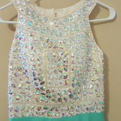 Beautiful Mint Beaded prom dress Beaded cream top,high neck,satin and chiffon bottom,custom made Dresses Prom