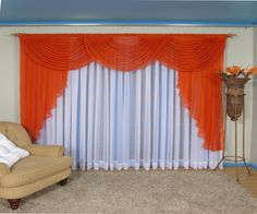 naranja  con bco Swag Curtains, Altar Decorations, Beautiful Curtains, Curtain Designs, Valances, Window Treatments, Decorative Accessories, Windows, Living Room