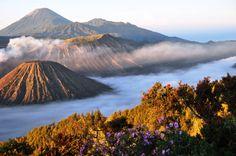 Morning scene of active volcano Mt Bromo in Eastern Java Island, Indonesia.